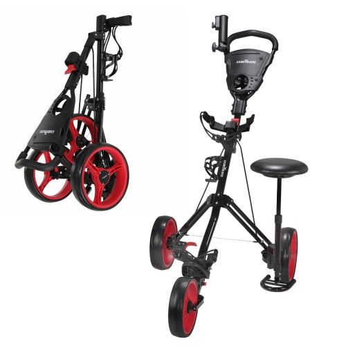 Caddymatic Golf X-TREME 3 Wheel Push/Pull Golf Cart with Seat Black/Red,Caddymatic Golf X-TREME 3 Wheel Push/Pull Golf Cart with Seat Black/Red,,,,,,,,,,,,,,