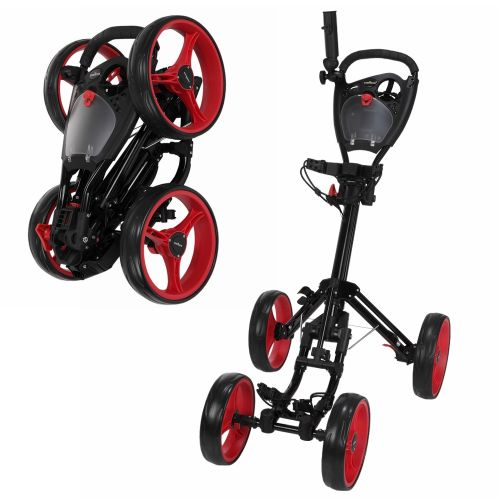 Caddymatic Golf Quad 4-Wheel Folding Golf Pull / Push Cart Black/Red,Caddymatic Golf Quad 4-Wheel Folding Golf Pull / Push Cart Black/Red,,,,,,,,,,,,,,