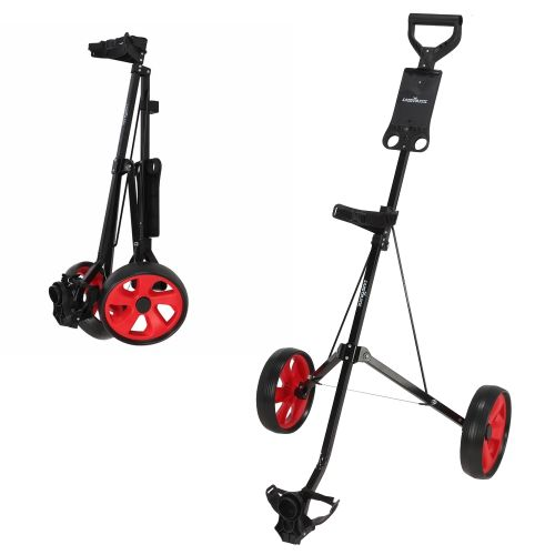 Caddymatic Golf i-Trac 2 Wheel Folding Golf Cart Black/Red,,,