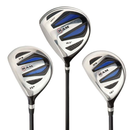 Ram Golf EZ3 Mens Wood Set inc Driver, 3 Wood and 5 Wood - Headcovers Included - Graphite Shafts - LEFTY,,,