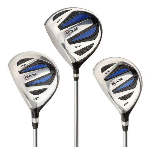 Ram Golf EZ3 Mens Wood Set inc Driver, 3 Wood and 5 Wood - Headcovers Included - Steel Shafts - Lefty,,,