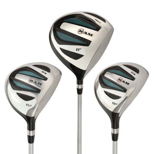 Ram Golf EZ3 Ladies 1 Inch Shorter Wood Set inc Driver, 3 Wood and 5 Wood - Headcovers Included - Graphite Shafts ,,,