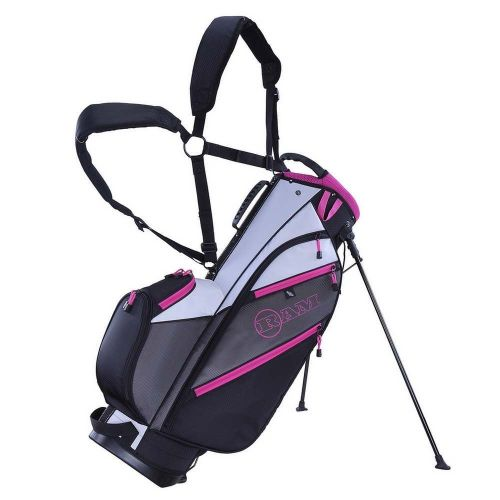 Ram Golf Lightweight Dual Strap Ladies Stand/Carry Bag - Grey/Pink