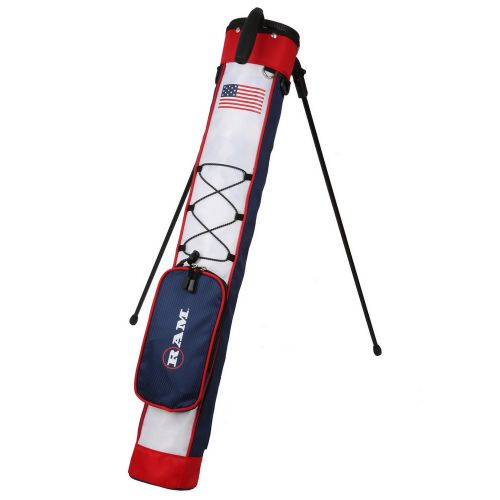 Ram Golf Pitch and Putt Lightweight Golf Carry Bag with Stand USA Flag