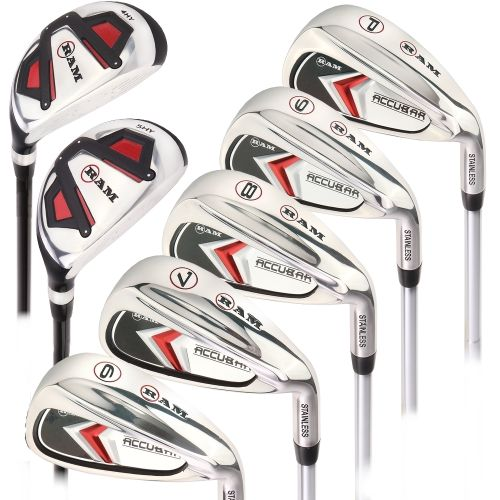 Ram Golf Accubar Mens Clubs Graphite/Steel Iron Set 6-7-8-9-PW with Hybrids 24° and 27°