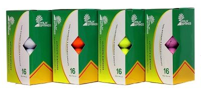 PALM SPRINGS 16 PACK OF ULTIMATE DISTANCE GOLF BALLS: 4 DIFFERENT COLORS