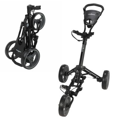 Caddymatic Golf X-Lite One-Click Folding Pull/Push Golf Cart Black