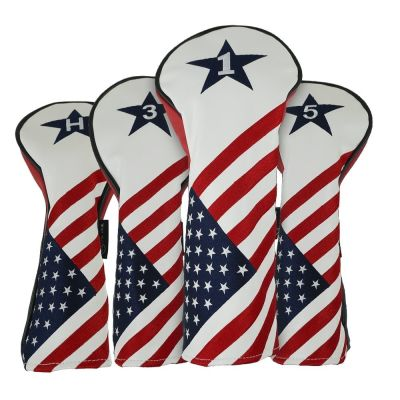 RAM GOLF USA STARS AND STRIPES PU LEATHER HEADCOVER SET For DRIVER, #3 WOOD, #5 WOOD, HYBRID